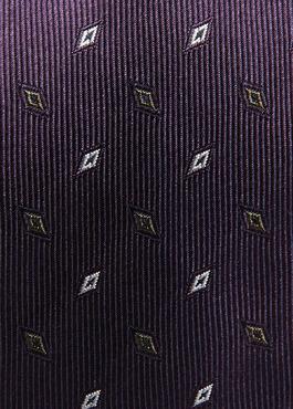 Cravate fine en soie violette à motifs géométriques gris 2 - Father And Sons