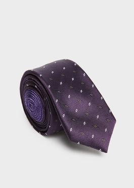Cravate fine en soie violette à motifs géométriques gris 1 - Father And Sons