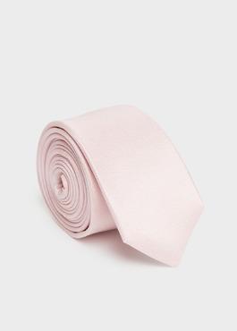 Cravate fine en soie unie rose pâle 1 - Father And Sons