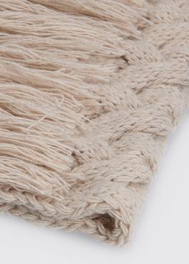 Écharpe à torsades en laine mélangée unie beige 2 - Father And Sons
