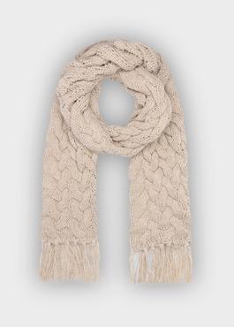 Écharpe à torsades en laine mélangée unie beige 1 - Father And Sons