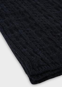 Echarpe en laine mélangée torsadée bleu foncé 2 - Father And Sons