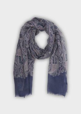 Écharpe en laine violette à motif fantaisie 1 - Father And Sons