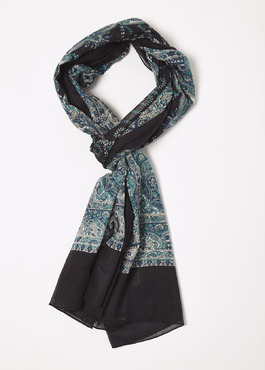 Echarpe en coton à motif cachemire bleu et gris 1 - Father And Sons