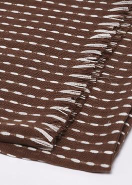 Echarpe en coton à motifs géométriques marron et blanc 2 - Father And Sons