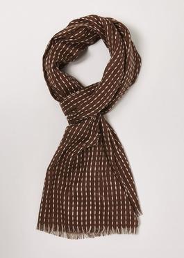 Echarpe en coton à motifs géométriques marron et blanc 1 - Father And Sons