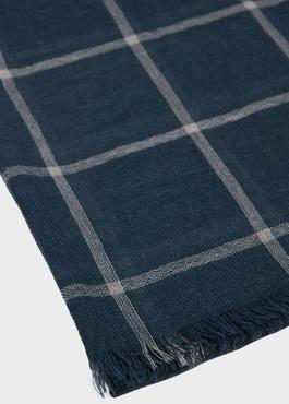 Écharpe en laine bleu indigo à carreaux 2 - Father And Sons