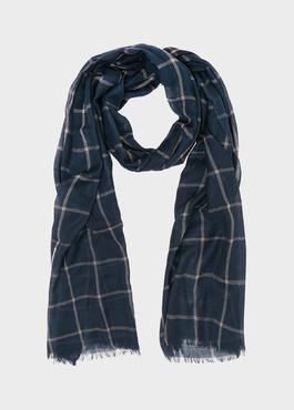 Écharpe en laine bleu indigo à carreaux 1 - Father And Sons