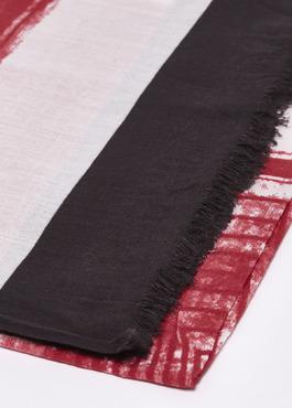Echarpe en coton à rayures rouge et marron foncé 2 - Father And Sons