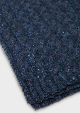 Echarpe en laine mélangée bleu unie 2 - Father And Sons
