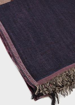Écharpe en laine marron à motifs géométriques 2 - Father And Sons