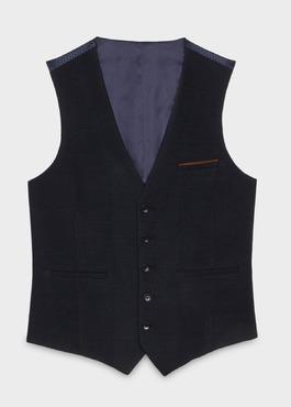 Gilet de costume coordonnable en coton mélangé à carreaux bleu 1 - Father And Sons