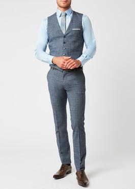 Gilet de costume coordonnable en laine mélangée bleu chambray Prince de Galles 2 - Father And Sons
