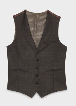 Gilet de costume coordonnable en laine mélangée marron Prince de Galles 1 - Father And Sons