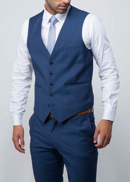 Gilet de costume coordonnable en laine unie bleu cobalt 2 - Father And Sons