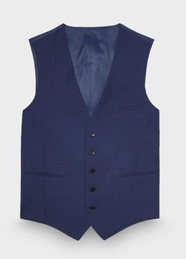 Gilet de costume coordonnable en laine unie bleu cobalt 1 - Father And Sons