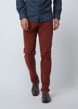 Jean skinny en coton stretch rouge brique 2 - Father And Sons