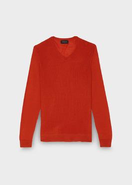Pull en laine mérinos col V uni orange 1 - Father And Sons