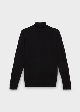 Pull en laine mérinos col roulé uni noir 1 - Father And Sons