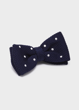 Noeud-papillon tricot uni bleu marine 1 - Father And Sons