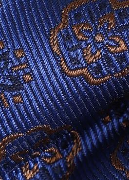 Noeud-papillon en soie bleu indigo à motif fleuri marron 2 - Father And Sons