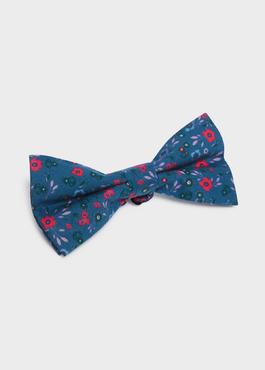 Noeud-papillon en coton bleu à motif fleuri rose fuchsia et vert 1 - Father And Sons
