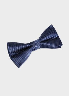 Noeud-papillon en soie bleue à motifs géométriques 1 - Father And Sons
