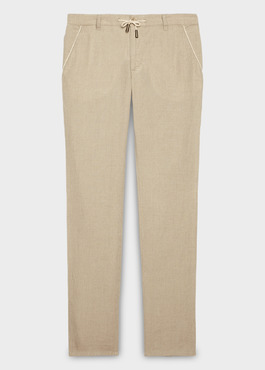 Pantalon Casual en lin uni beige 1 - Father And Sons
