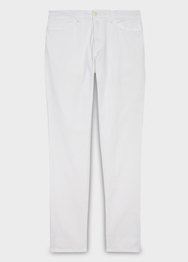 Chino slack skinny en coton stretch blanc uni 1 - Father And Sons