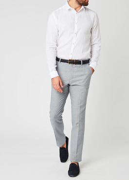 Pantalon coordonnable skinny en lin mélangé gris 2 - Father And Sons
