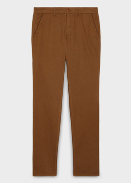 Chino slack skinny en satin camel à motif fantaisie 1 - Father And Sons