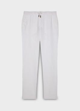 Pantalon Casual en lin uni blanc 1 - Father And Sons