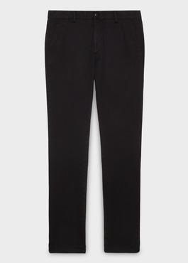 Chino slack skinny en coton façonné uni noir 1 - Father And Sons