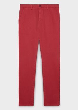 Chino slack skinny en coton façonné uni rose 1 - Father And Sons
