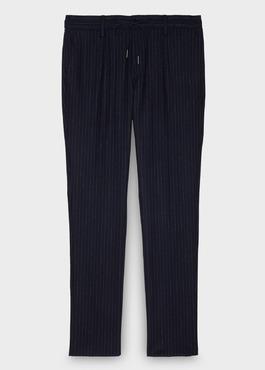 Pantalon Slim coordonnable en laine bleu marine à rayures 1 - Father And Sons