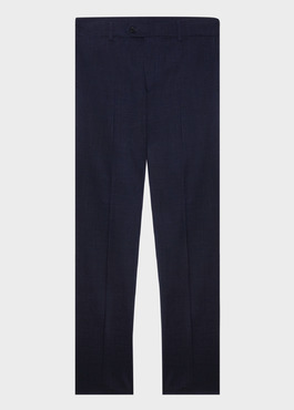 Pantalon voyage coordonnable Regular en laine unie bleu marine 1 - Father And Sons