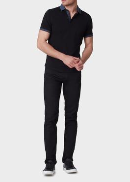 Polo manches courtes Slim en coton uni noir 2 - Father And Sons