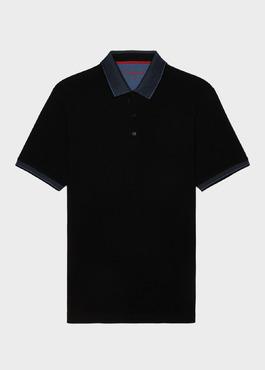 Polo manches courtes Slim en coton uni noir 1 - Father And Sons