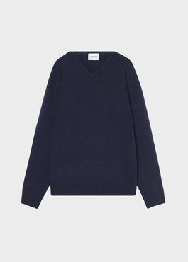 Pull en cachemire col V uni bleu marine 1 - Father And Sons