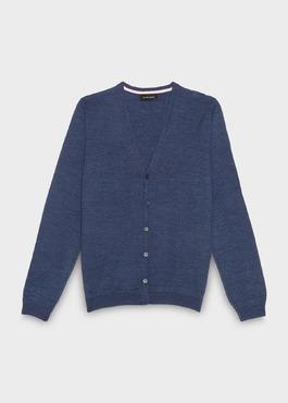 Cardigan en laine Mérinos uni bleu 1 - Father And Sons