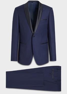 Smoking Slim en laine unie bleu indigo 1 - Father And Sons