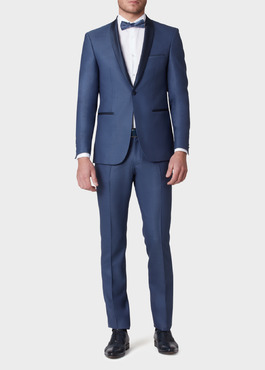 Smoking Slim en laine unie bleue 2 - Father And Sons