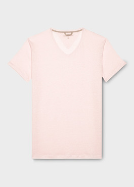 Tee-shirt manches courtes en lin col V rose 1 - Father And Sons