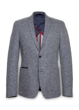Veste casual Regular en coton façonné uni bleu 1 - Father And Sons