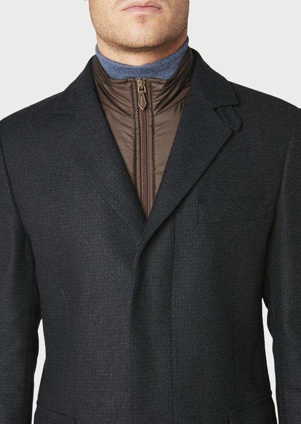 Manteau en laine à carreaux bleu marine - Father and Sons 30732