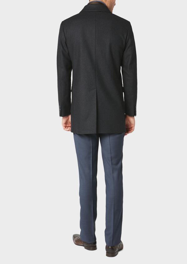 Manteau en laine à carreaux bleu marine - Father and Sons 30731