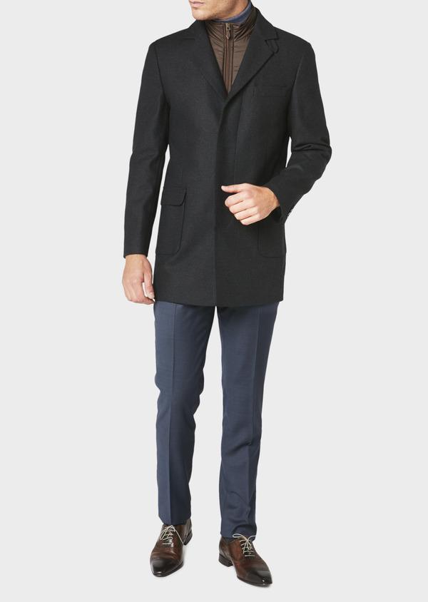 Manteau en laine à carreaux bleu marine - Father and Sons 30730