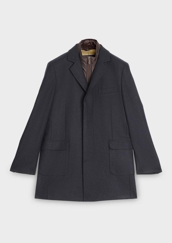 Manteau en laine à carreaux bleu marine - Father and Sons 30728