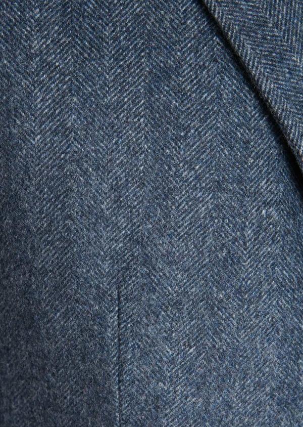 Manteau en laine mélangée bleu chambray à motif fantaisie - Father and Sons 30539