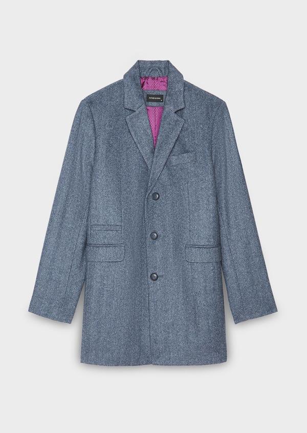 Manteau en laine mélangée bleu chambray à motif fantaisie - Father and Sons 30538